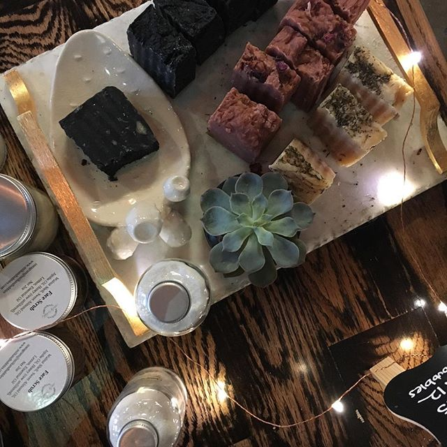 All set up @edisoncoffeeco and feeling all the vibes with a delicious cappuccino and this view ❤️️ #coffee#soaps#holidays#shopping