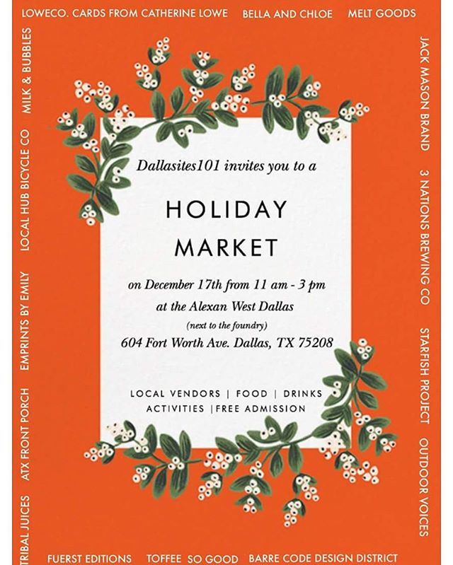 Next up is the Holiday Market hosted by @dallasites101 !! We can not wait to be there and are super excited! Get ready everyone! This will be our last show for the year 2016!! 🎉🎉