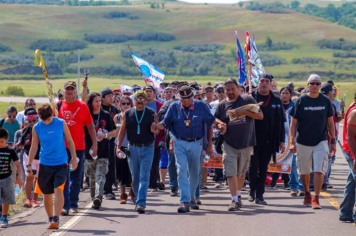 Iconic photo of Dennis at Standing Rock by Bucky Harjo