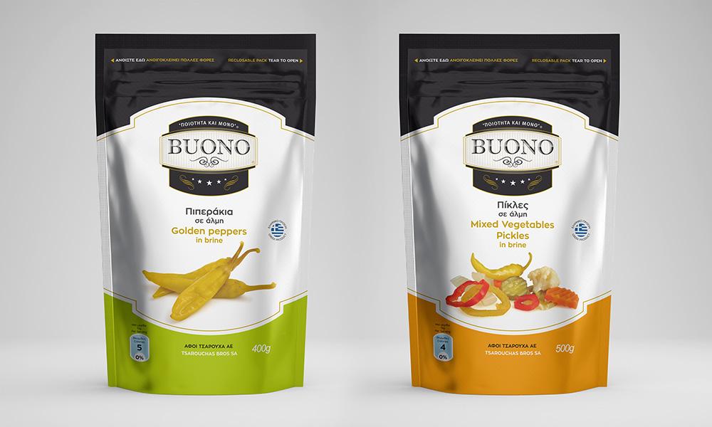 """Σχεδιασμός συσκευασίας για τα προϊόντα """"BUONO""""."""
