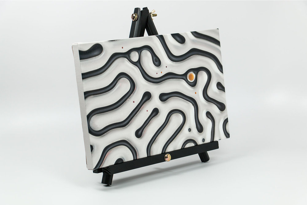 Ferrofluid canvas print on desktop easel, size 12x8x0.75 |Absolutely Interesting Collection by Linden Gledhill - Image 1