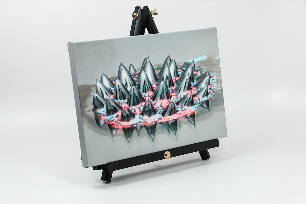 Ferrofluid canvas print on desktop easel, size 12x8x0.75 |Reflections Collection by Linden Gledhill - Image 1
