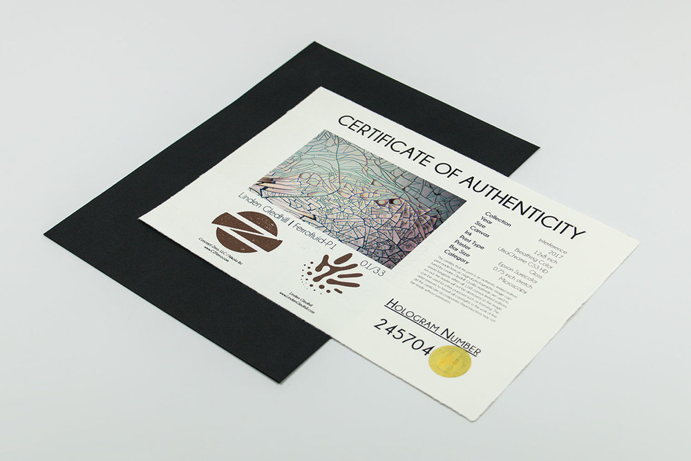 Certificate of Authenticity hologram system for ferrofluid canvas print |Interference Collection by Linden Gledhill - Image 1