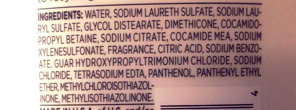 Ingredient label for popular shampoo.