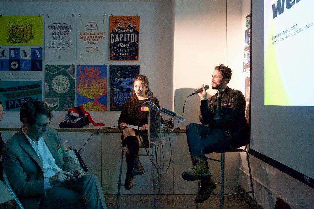 Jean-François Porchez, myself, and Thomas Jockin (left to right) at TypeThursdayNYC February 2017.