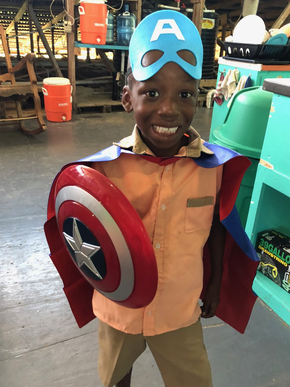 Luke's favorite superhero is Captain America….seems fitting:-)