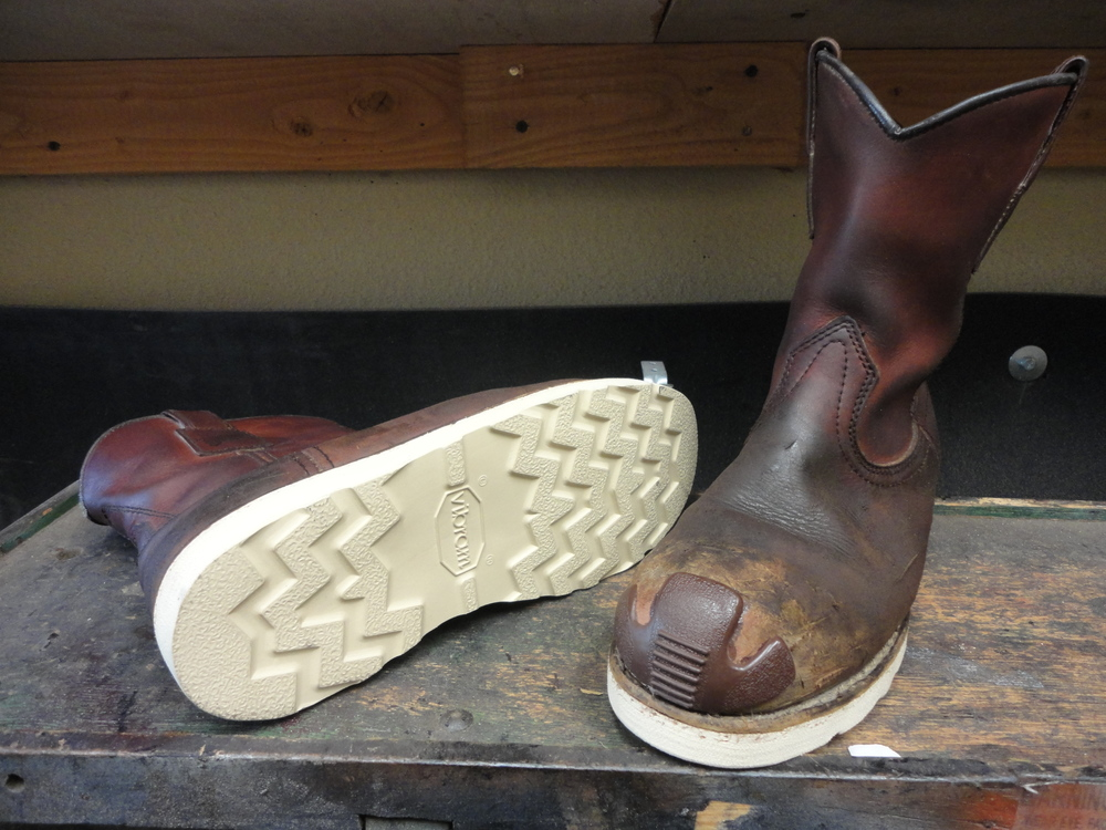 Pair of 866 resoled, colored, conditioned, along with toe bumpers.