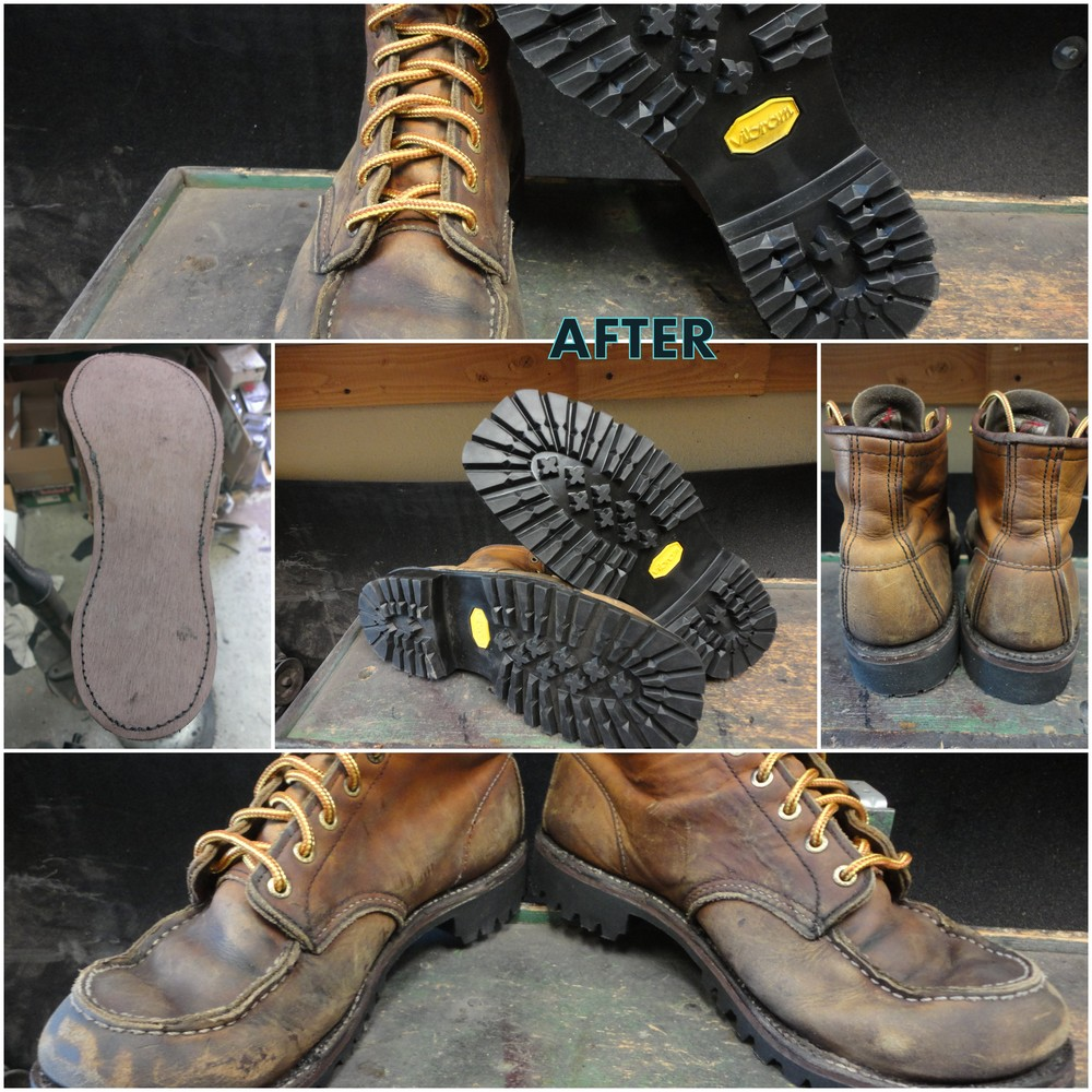After-Pair of 10875 resoled with vibram lug sole, colored, conditioned, and relaced.