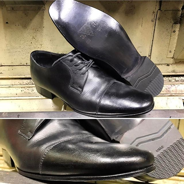 Blacked out pair of Bruno Maglis with JR leather sole 👞⚒ protect your shoe investments, JR leather soles are one of the best in its category. #moderncobblery #protectyourinvestment #JRleather #jrleathersoles #shoerepair #sdcountyshoerepair #northcountyshoerepair #shopsmall #sanmarcosca #brunomagli