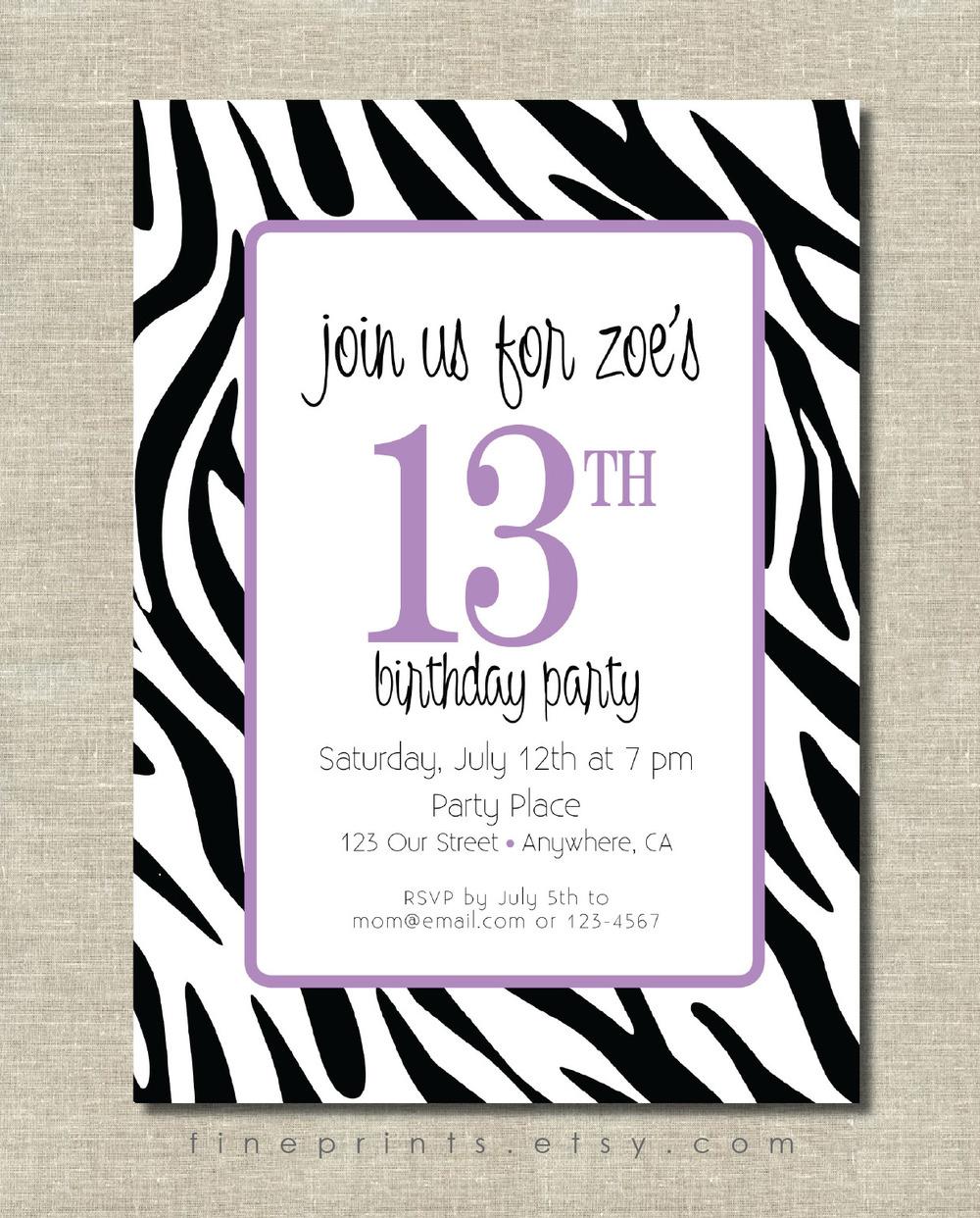 zebra purple invitation