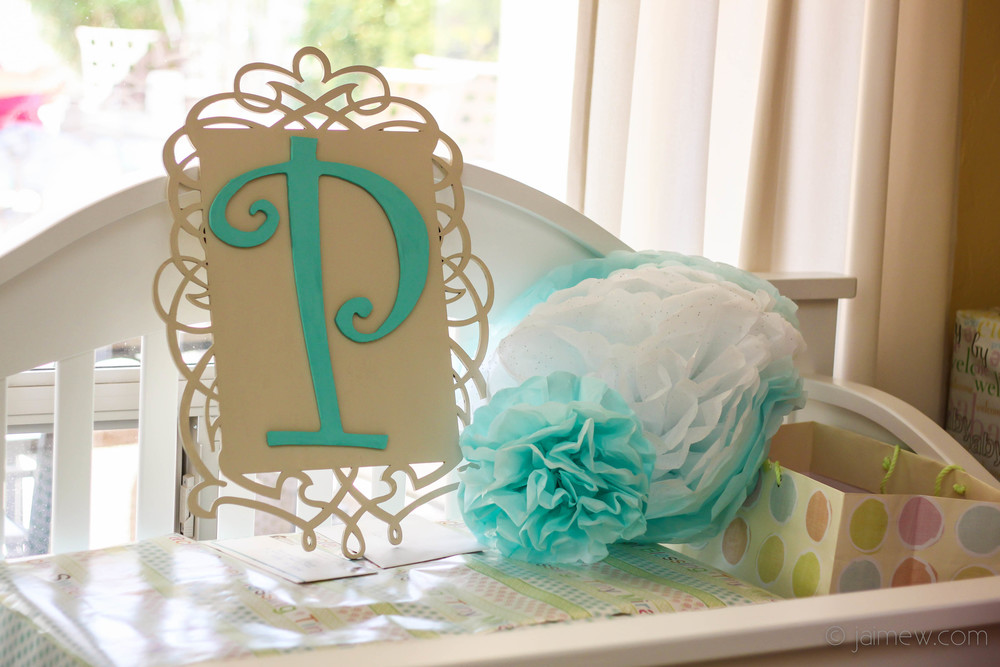 tiffany blue initial monogram sign for tiffany blue and bows baby shower