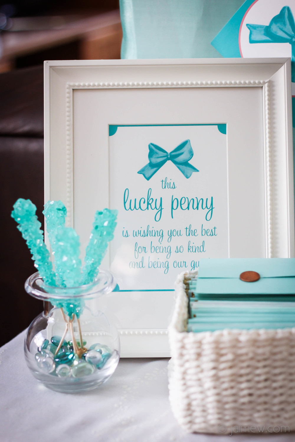 lucky penny lottery ticket party favors for tiffany blue and bows baby shower