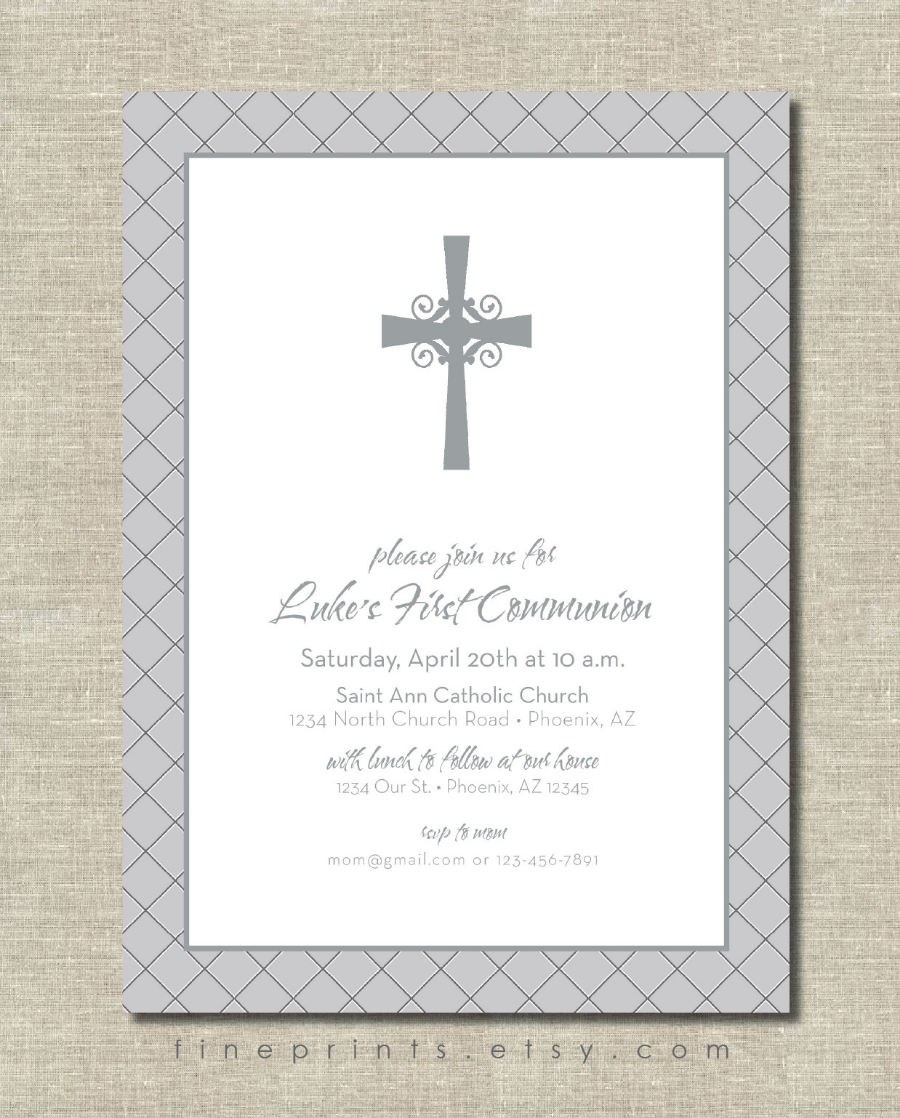 gray diamond and cross first communion invitation design