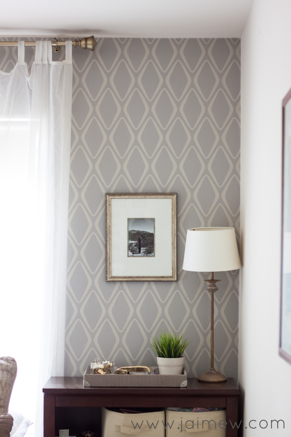 Patterned Wallpaper Accent Wall In The Office Removable