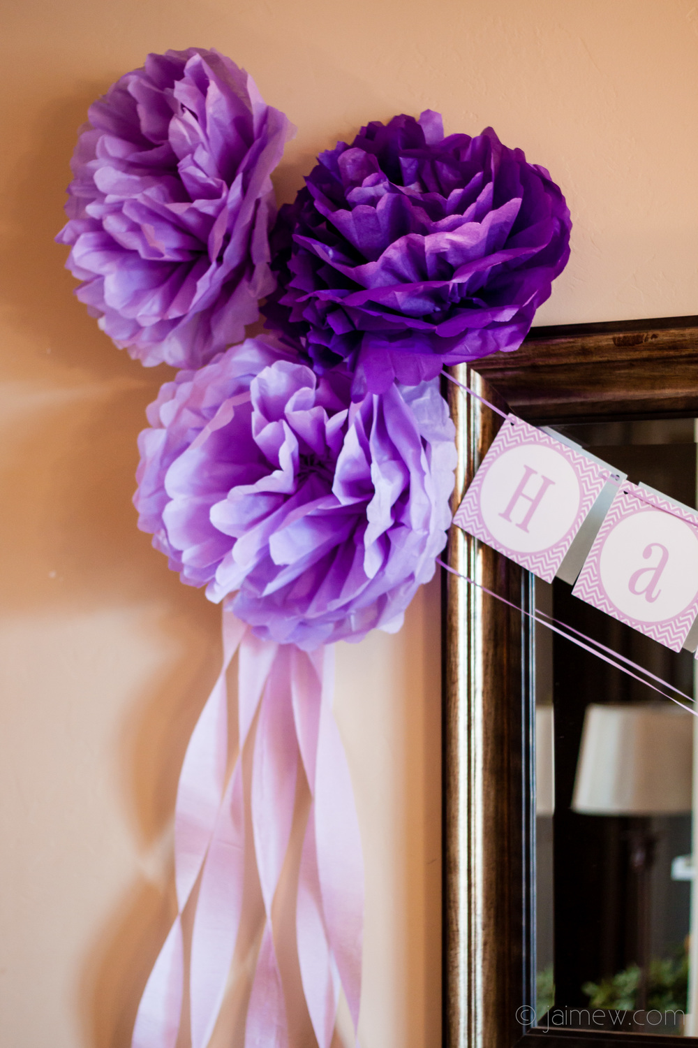 tissue paper flowers for lavender chevron pom poms / birthday party decor