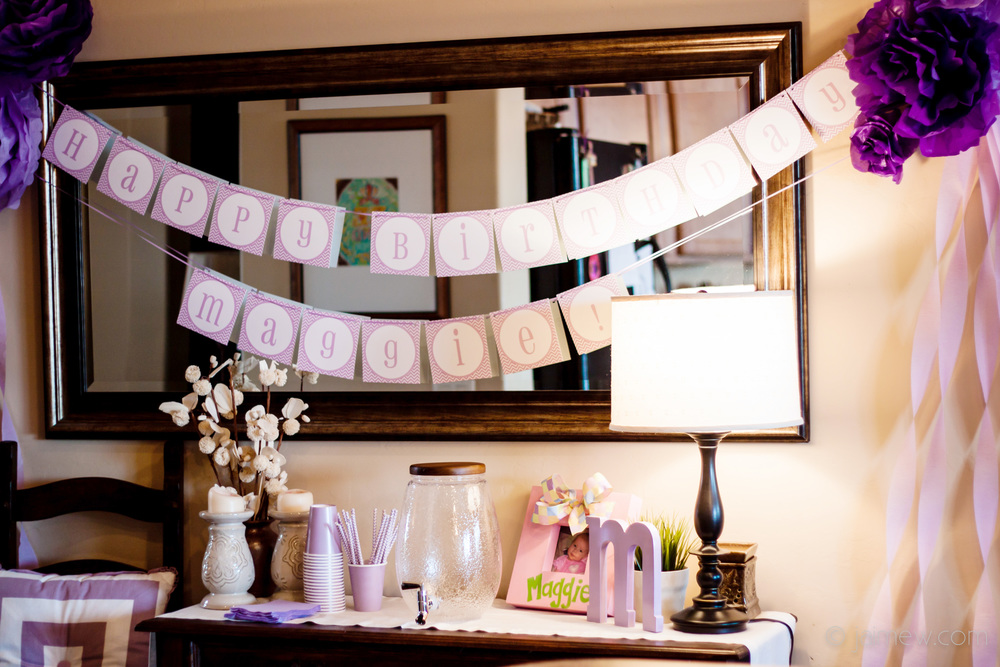 printable banner over the drink table for lavender chevron birthday party decor