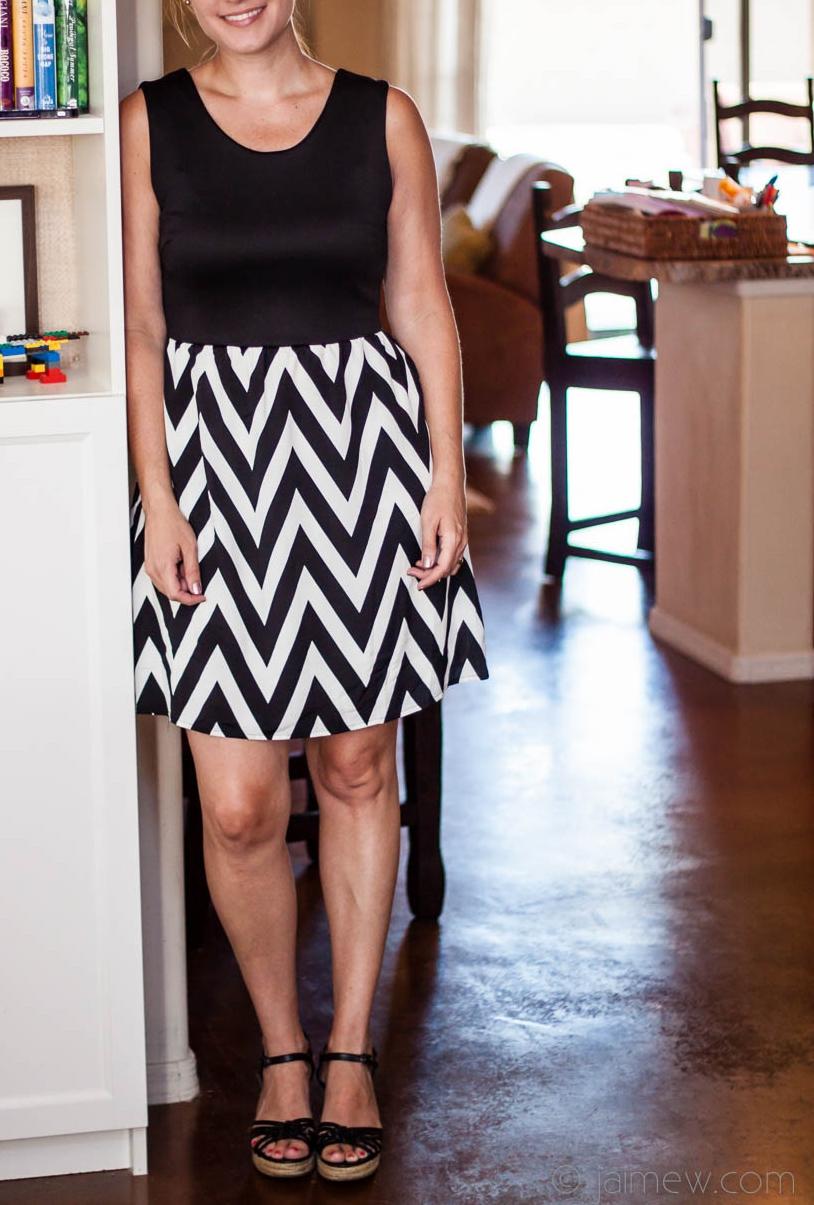 Stitch Fix Review / Pixley Harriet Chevron Print Detail Dress / black and white chevron