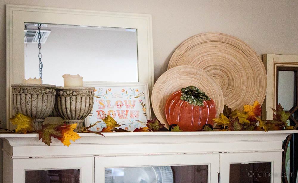 fall decor / slow down sign / fall leaves / pumpkin plate