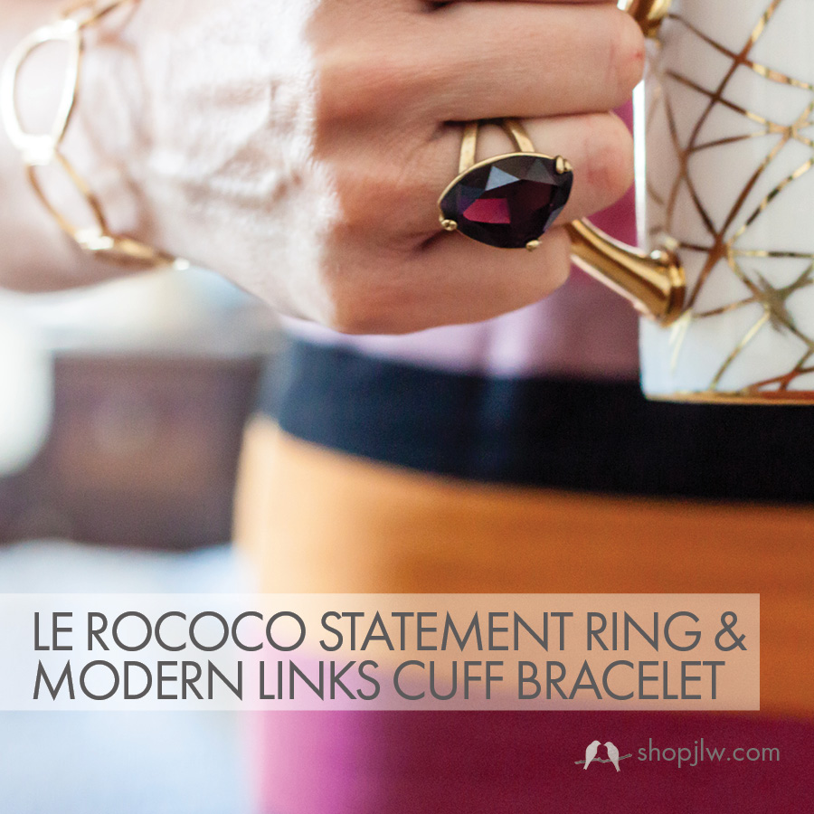Le Rococo Statement Ring and Modern Links Cuff Bracelet
