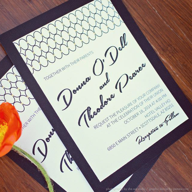 midcentury modern custom designed wedding invitations