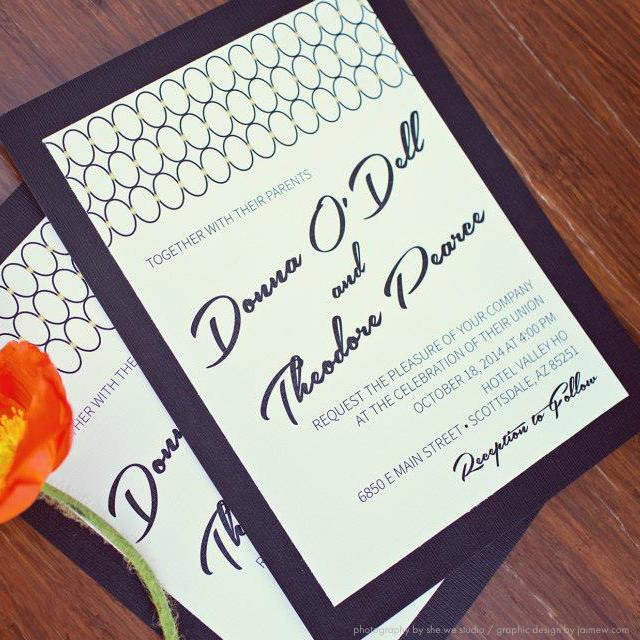 Wedding Invitations Tucson: MidCentury Modern Wedding Invitation And Menu Custom