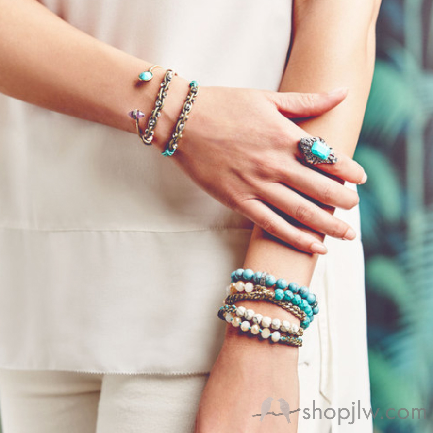 Turquoise jewelry and multi wrap stack bracelets   Chloe+Isabel Jewelry
