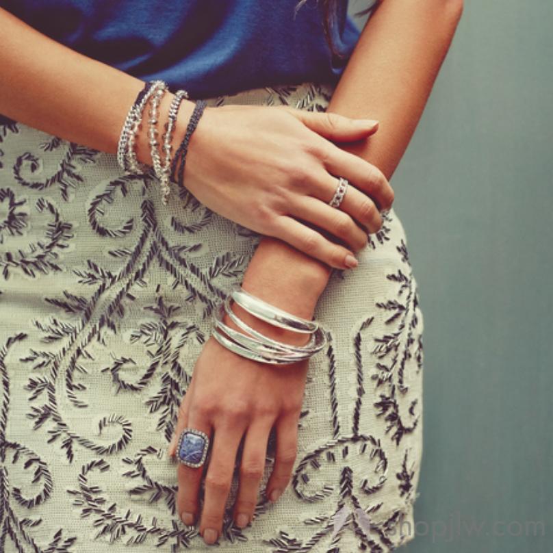 Silver stacked bracelets   Chloe+Isabel jewelry sale