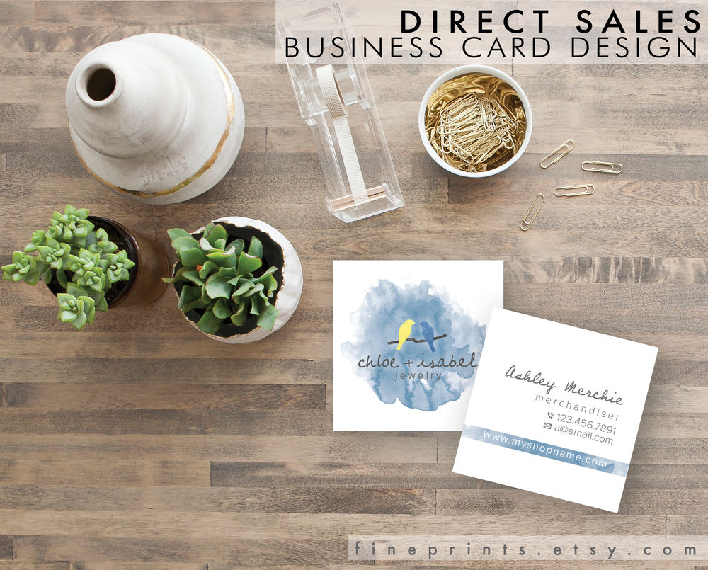 custom direct sales square business card design