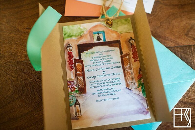 custom watercolor painting of hacienda del sol for wedding invitation