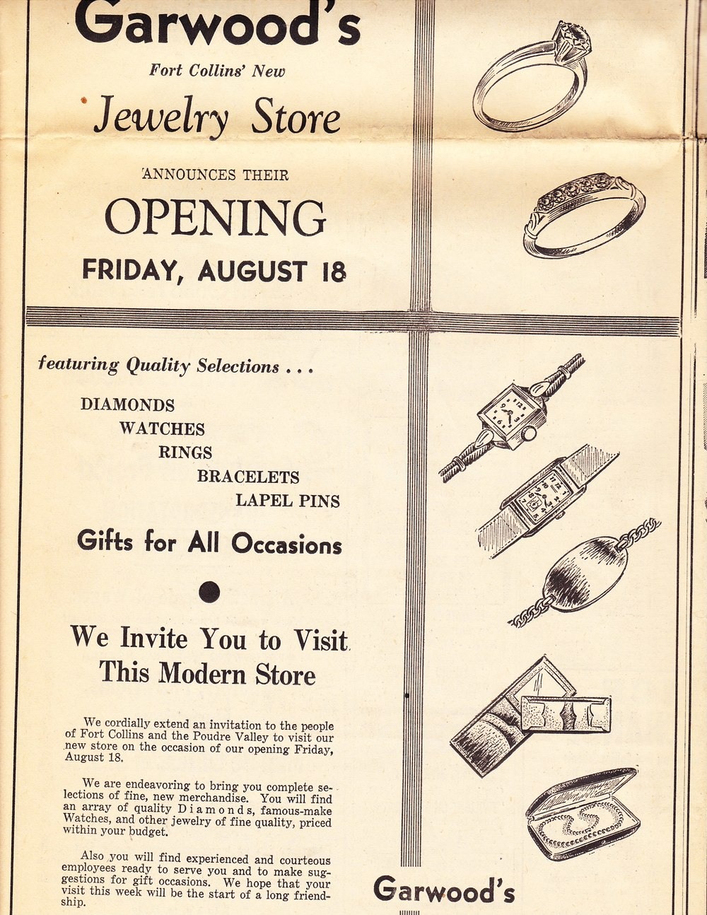 Original grand opening announcement in the Fort Collins Express-Courier on August 18, 1944.