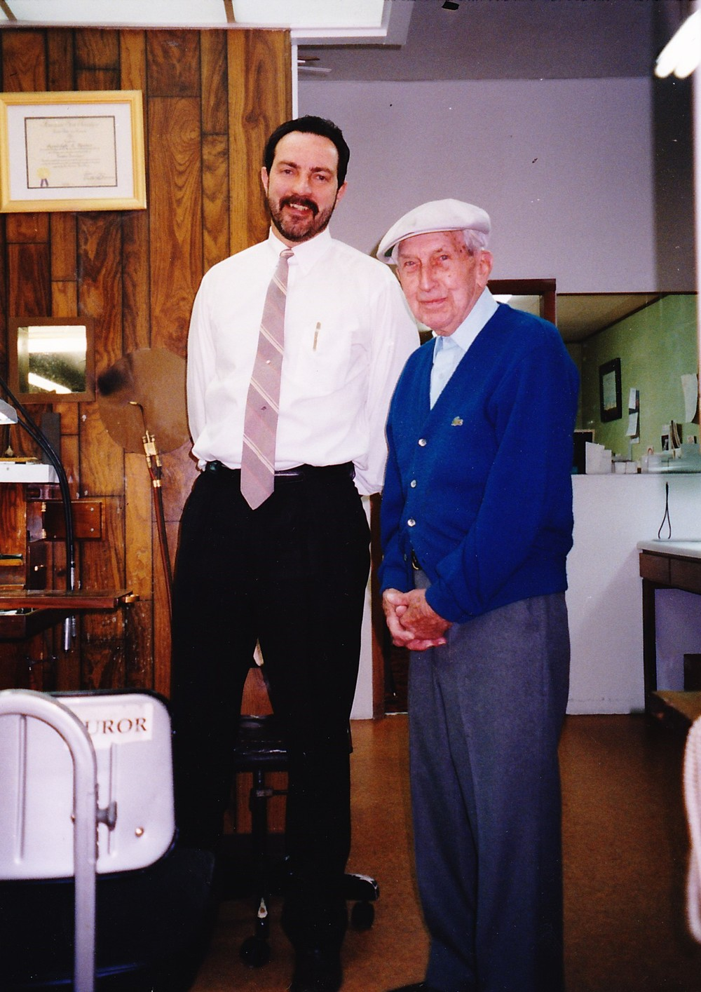 Current owner Randy Reider with original owner Cloyd Garwood in the early 2000s.