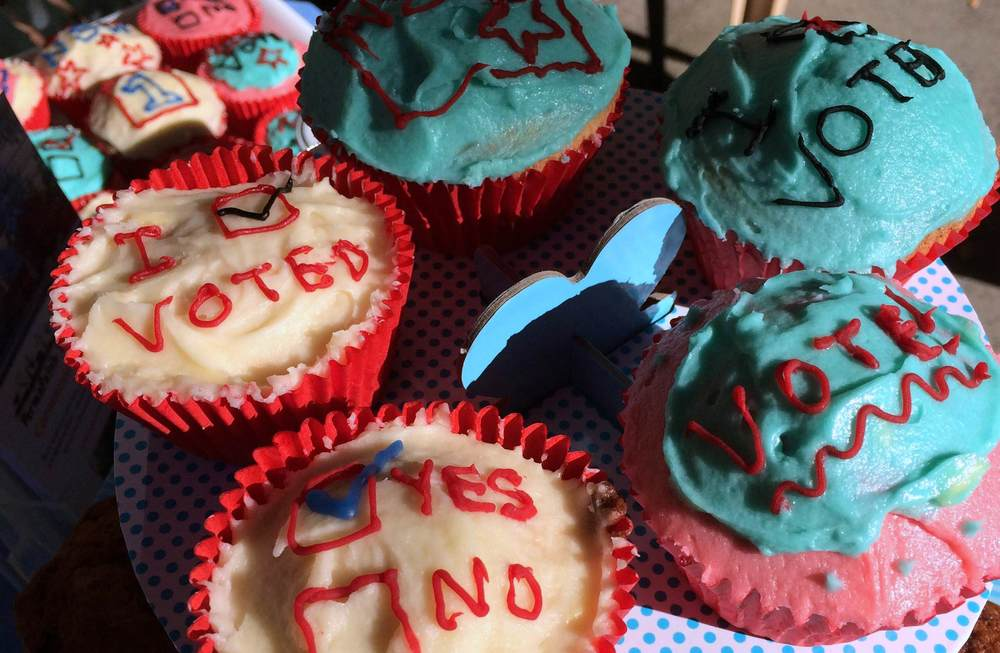 Kim's colourful democracy cupcakes