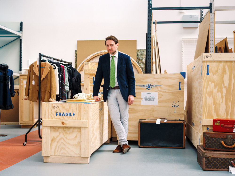 Christie's specialist Adrian Hume-Sayer with Audrey Hepburn's belongings        for Christies Magazine