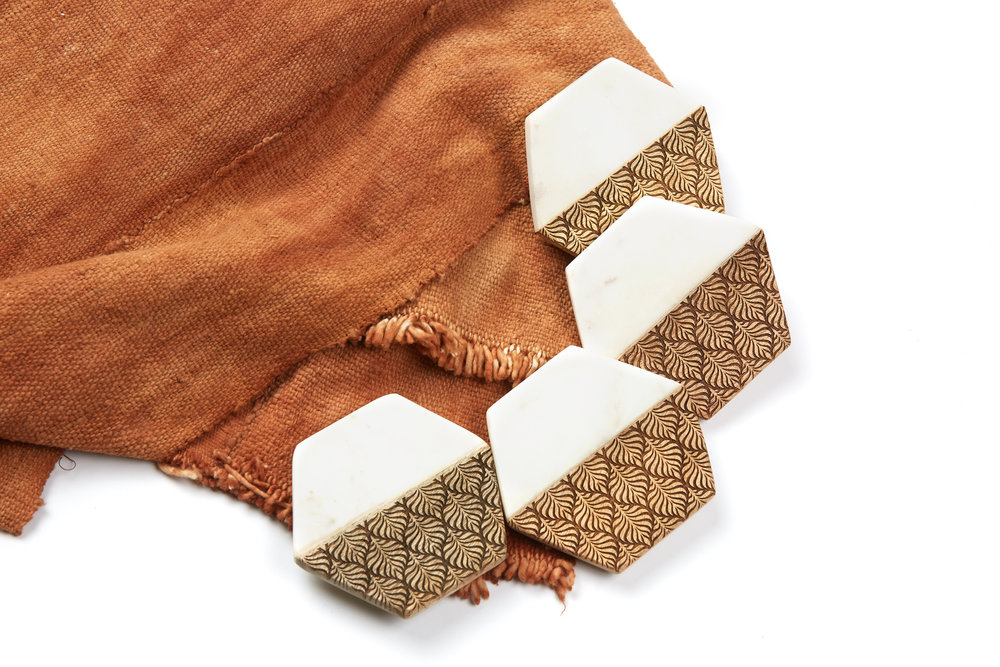marble + wood - Coaster Set / 4