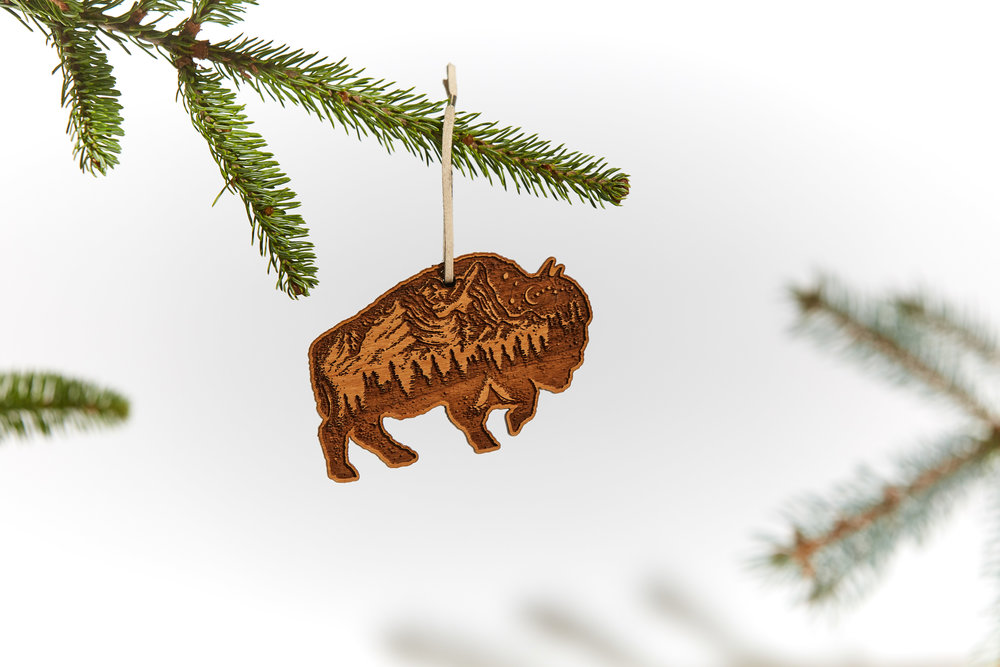 bison ornament - Wood Ornament / Leather + Copper