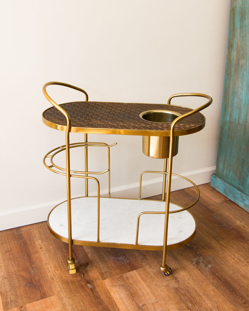 Brass Marble Wood Art Deco Bar Cart Pickup Only Lucca