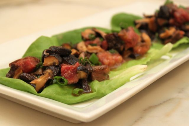 soy beef + shiitake lettuce wraps