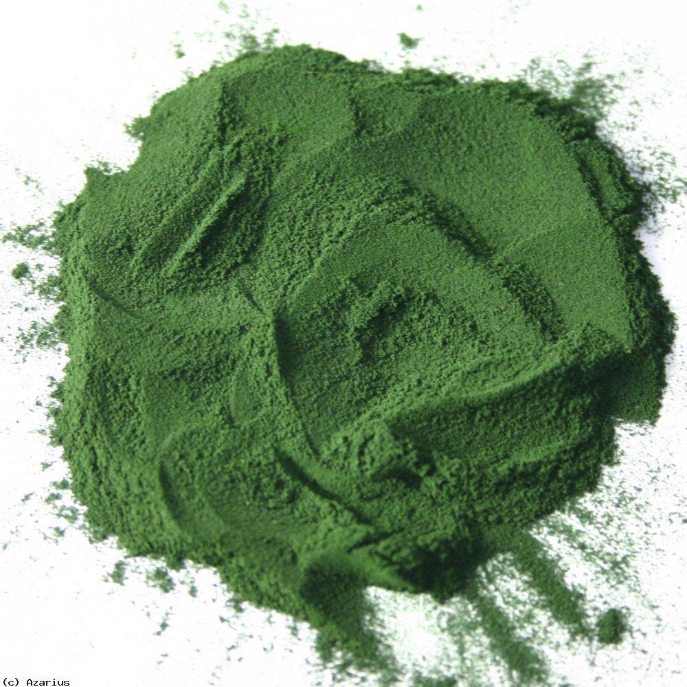 Spirulinapulver; en flott grønnfarge!
