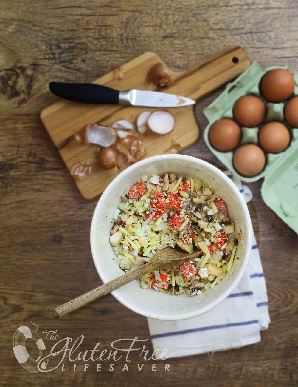 glutenfri quiche med laks og fetaost