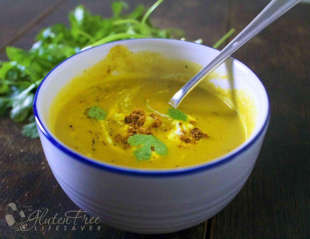 glutenfri søtpotet og butternutsuppe med koriander