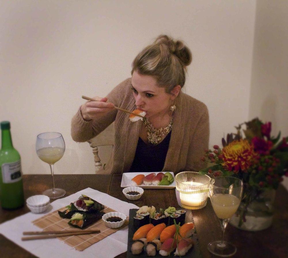 Stor suksess med egen sushi! Kjempeidé til datenight :)