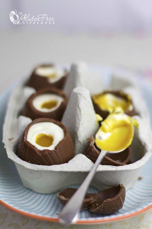 Ostekakefylte sjokoladeegg til påske -Glutenfri