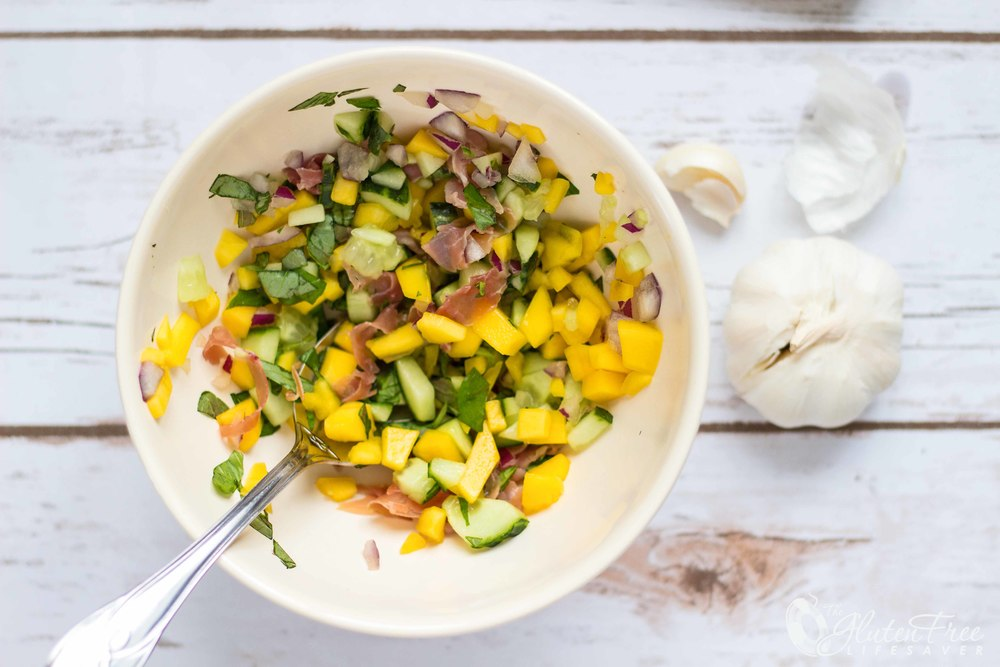 Glutenfri bruschetta med mango