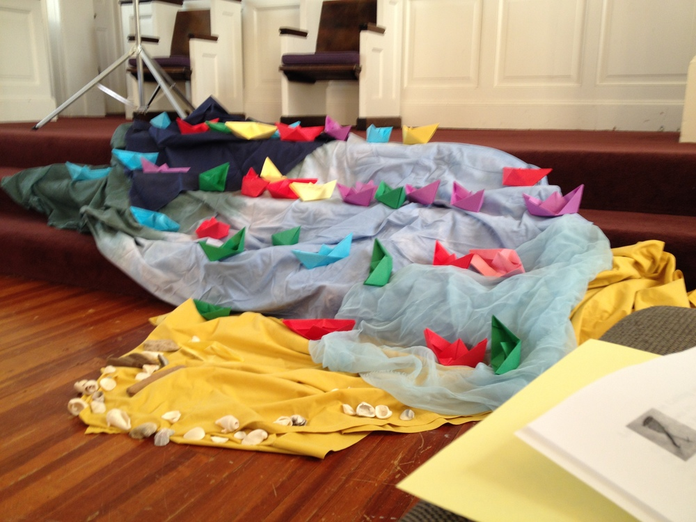 Carol Marples, of Soul Marks, led us in making origami boats, placed here on fabric representing the shoreline and depths of the sea. The boats were prayed over, carrying our hopes for the day. Based on the story of Jesus calling the disciples in Luke.