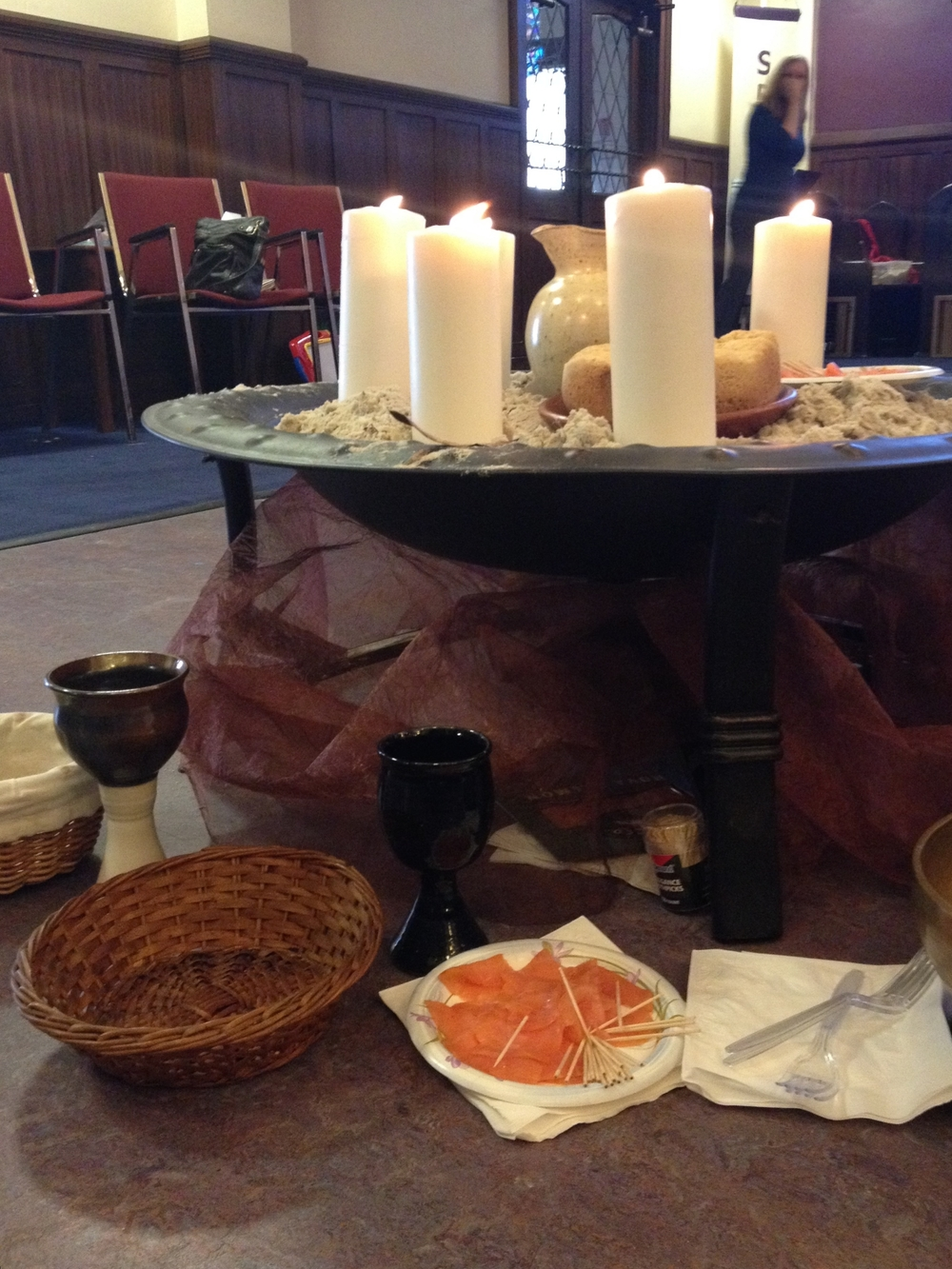 Communion and smoked salmon by the seaside, at Church of the Pilgrims.