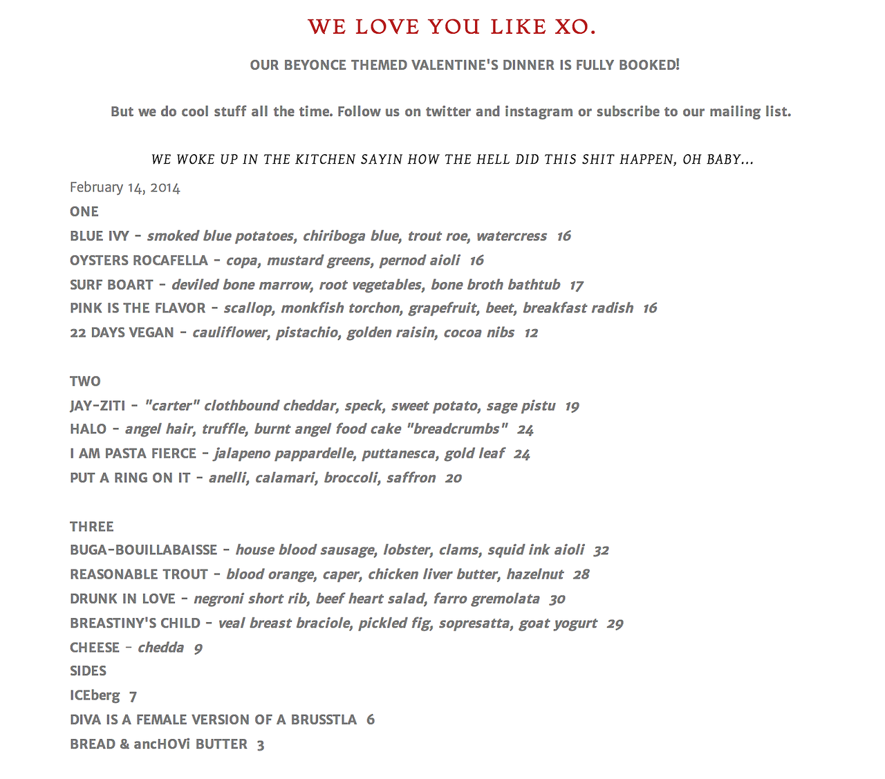 Brucie  NYC wins Valentine's Day 2014 with this #QueenBey inspired menu