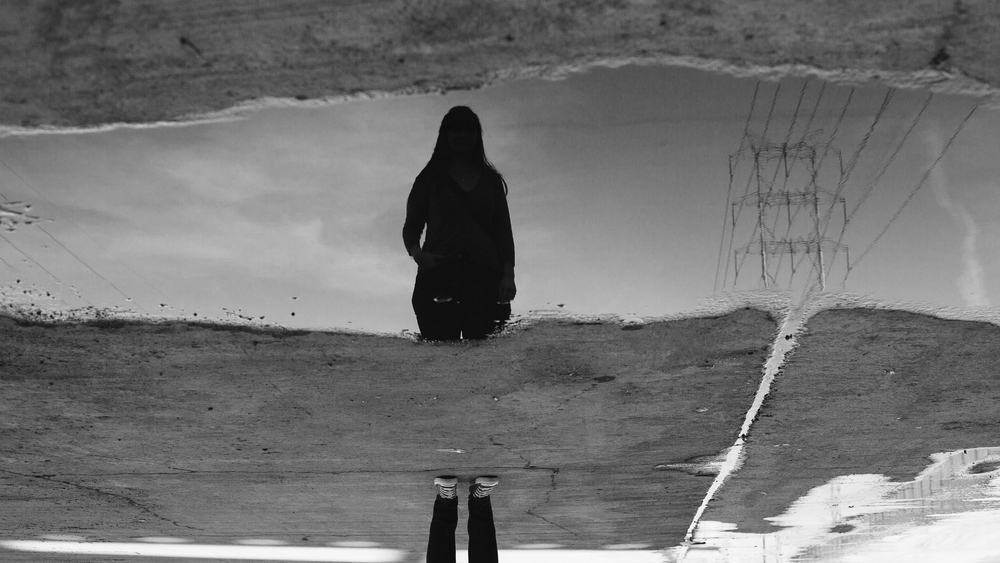 Sixth Street Viaduct Creative Reflection Portrait BW