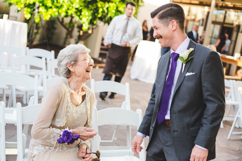chad groom and grandmother share a laugh