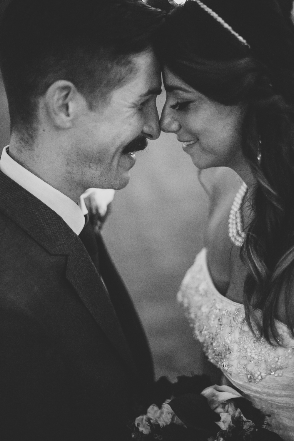 lc bw bride and groom intimate and close
