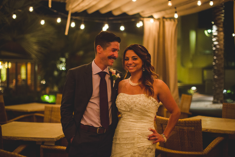 camelback inn wedding lc bride and groom happy night twinkle lights